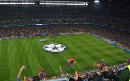 Nou Camp Stadium. Barcelona on a champions league night royalty free stock image