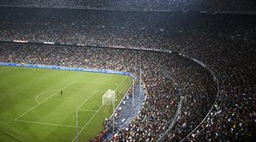 Nou Camp Stadium, Barcelona, Spain. Inside a football stadium (Nou Camp) during the match Barcelona and Internazionale - Barcelona - Spain Stock Images
