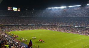 Nou Camp Stadium, Barcelona, Spain. Inside a football stadium (Nou Camp) during the match Barcelona and Internazionale - Barcelona - Spain Royalty Free Stock Photo
