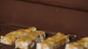 Nougat με τα καρύδια και σοκολάτα στο εργοστάσιο απόθεμα βίντεο