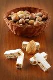 Nougat with almonds Stock Photos