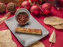 Nougat and almonds in chritsmas set. Nougat types, overhead shot, cremona italy Royalty Free Stock Image