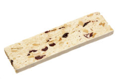 Nougat bar isolated on white Royalty Free Stock Images