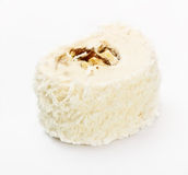 Nougat Candy With Nuts. Nougat candy with nut in dessicated coconut Royalty Free Stock Photos