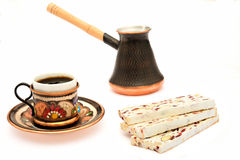 Nougat, cup of coffee and turka Royalty Free Stock Image