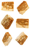 Nougat with nuts from different angles. Isolation. Nougat from different angles. Isolation on white background Royalty Free Stock Photos