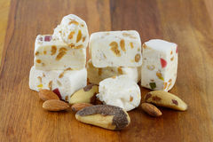 Nougat and nuts Royalty Free Stock Photography