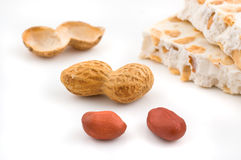 Nougat and peanuts. Stock Photos