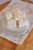 Nougat on plate Royalty Free Stock Photography