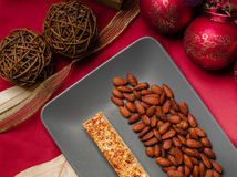 Nougat ready. Nougat and almonds overhead shot, cremona italy Royalty Free Stock Photo