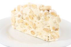 Nougat. Soft nougat with whole almonds Royalty Free Stock Images