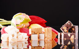 Nougat and tulips Stock Photo