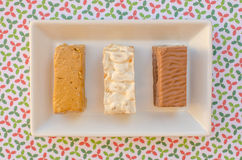Nougat, a typical dessert of Christmas in Spain. Soft, hard and chocolate nougat Stock Photo