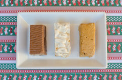 Nougat, a typical dessert of Christmas in Spain. Soft, hard and chocolate nougat Stock Images