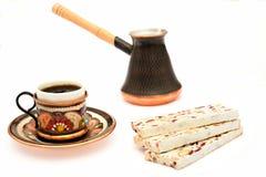 Nougaten kuper av kaffe och turka Royaltyfri Bild