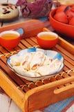 Nougats. Sweet nougats on the plate royalty free stock image