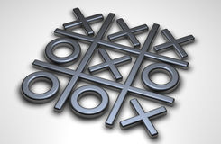 Noughts and crosses. 3d noughts and crosses on a grey background Stock Image