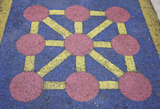 Noughts and crosses. Painted on the floor of a park, outdoor children toy Royalty Free Stock Images