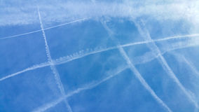Noughts & Crosses, Barcelona. A spiderweb of contrails crossing the sky, Barcelona Royalty Free Stock Images
