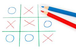 Noughts and crosses game Royalty Free Stock Photos