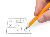 Noughts and crosses game. Isolated on white background Stock Images
