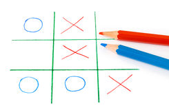 Noughts and crosses game. Isolated on white background Stock Photography