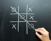 Noughts and crosses. Hand drawn tic tac toe game on blackboard Stock Photos