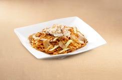 Nouille asiatique de chair de crabe de nourriture image stock