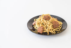 nouille faite sauter à feu vif - nourriture de vegan Photographie stock