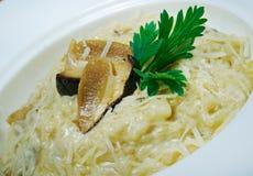 Nouilles avec du fromage et des champignons Photos stock