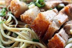 Nouilles avec du porc rôti Image stock