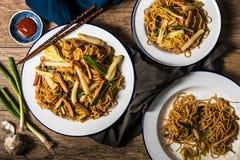 Nouilles chinoises avec du porc, le chou de Napa, et l'oignon vert Images stock