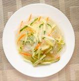 Nouilles chinoises avec le concombre et la carotte sur un plan rapproch? de plat image stock