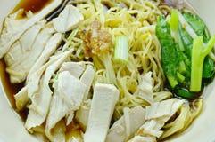 Nouilles chinoises d'oeufs avec de la viande de poulet en soupe brune sur la cuvette photographie stock libre de droits
