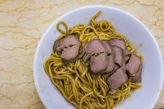 Nouilles délicieuses dans Restaurante Birmanes Nga Heong Photographie stock