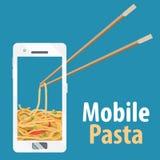 Nouilles de bande dessinée au téléphone portable Chinois et baguettes Photographie stock libre de droits
