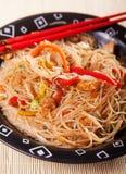 Nouilles de Chineese avec le poulet et les légumes Photographie stock libre de droits