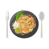 nouilles de riz Remuer-frites (garniture thaïe) illustration de vecteur