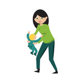 Nounou. Nanny carrying a kid, mother with child Royalty Free Stock Photos