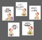 Nounours avec le chapeau et le boîte-cadeau de Noël Photos libres de droits