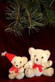 Nounours de Noël deux blanc Images libres de droits