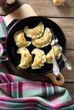 Nourishing dumplings in a frying pan Royalty Free Stock Photos