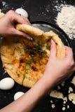 Nourishing imeretian khachapuri food tasting. Nourishing imeretian khachapuri tasting. fatty delicious unhealthy food. georgian cuisine Royalty Free Stock Photos