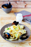 Nourishing pasta with seafood Royalty Free Stock Images
