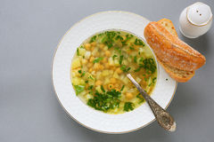 Nourishing soup with chickpeas and potatoes Stock Image