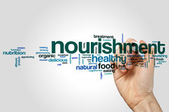 Nourishment word cloud. Concept on grey background Royalty Free Stock Photos