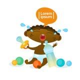 Nourrisson affamé de bande dessinée d'enfant en bas âge d'Afro-américain de cri mignon de bébé garçon dans la couche-culotte illustration stock