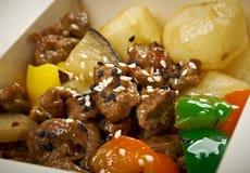 Nourriture à emporter - tranche et pomme de terre de boeuf. photographie stock libre de droits