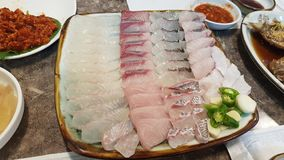 Nourriture à queue jaune de goujon de mer de sashimi de poissons plats de sashimi de poisson cru de thon de sashimi photos libres de droits
