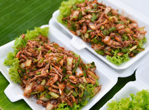 Nourriture épicée de petite préparation de crevette Images stock